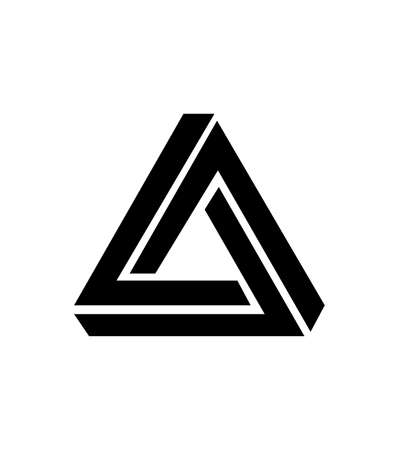 black abstract triangle icon isolated on white background