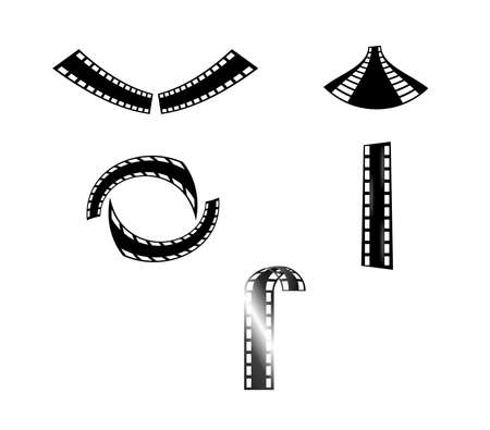 set of five creative film strip shapes isolated on white background