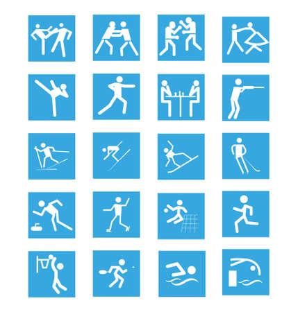 set of sport icons isolated on white background Ilustração