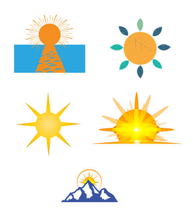 set of five creative sun icons isolated on white background
