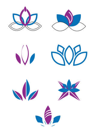 Set of seven creative lotus flower isolated on white Ilustração