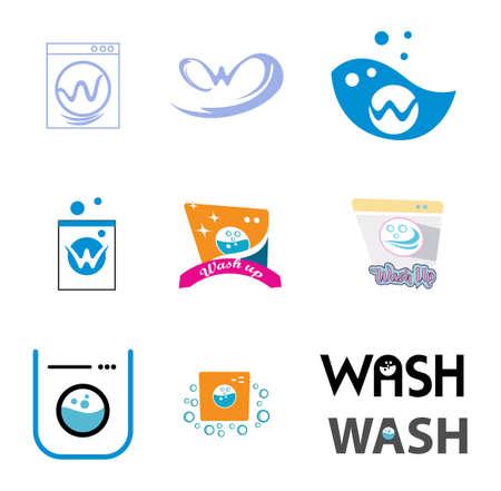 set of washing machine icons isolated on white background Ilustração