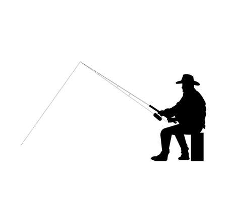 black silhouette of a fisherman with a rod isolated on white background Ilustração