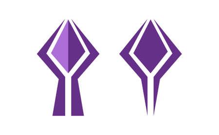 luxury purple shapes isolated on white background.