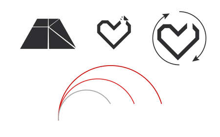 set of heart icons isolated on white background