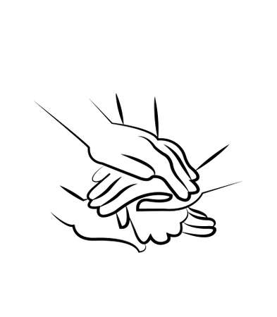 hands stacked in friendship teamwork isolated on white background
