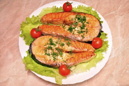 Grilled Salmon Steaks Stock Photo - 15194110