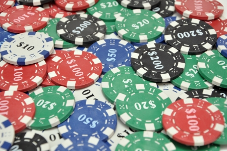 A large stack of poker chips Stock Photo - 14984278