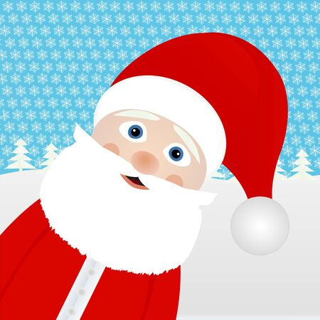 winter forest: Santa Claus in a winter forest  Illustration