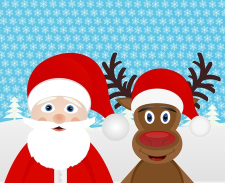Christmas Reindeer and Santa Claus in the woods  Vector