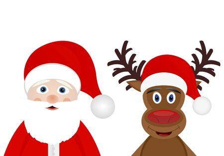 Santa Claus and Christmas deer on a white background