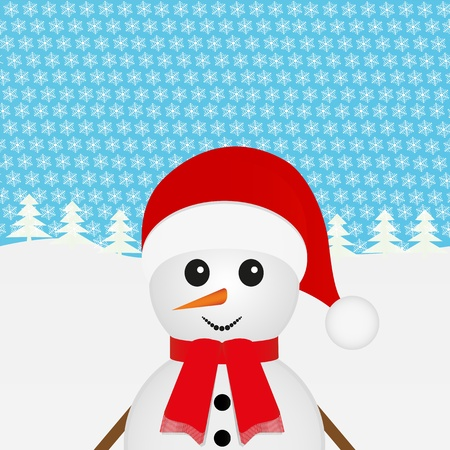 snowman looks right out of the woods  Vector