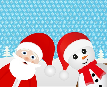 Snowman and Santa Claus peeking out of the woods  Vector