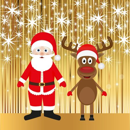 Santa Claus and Christmas reindeer on the shiny background  Illustration