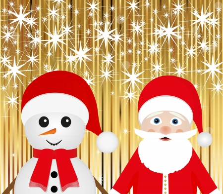 miracles: Santa Claus and snowman on a gold background with stars