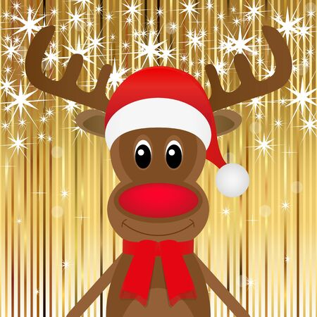 Christmas reindeer on a gold background Stock Vector - 16576039