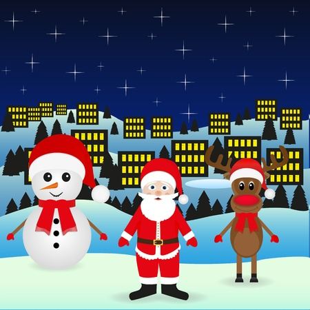 Santa Claus and Snowman Christmas reindeer in the night city Stock Vector - 16576133