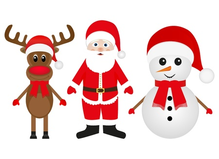 Christmas reindeer snowman and Santa Claus on a white background  Stock Vector - 16576134