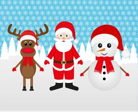 Snowman, Santa Claus and Christmas reindeer in the forest Stock Vector - 16576359