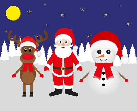 Snowman, Santa Claus and Christmas reindeer in the forest  Vector
