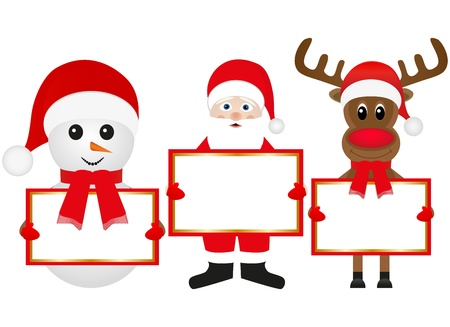 Christmas reindeer snowman and Santa Claus are holding banners  Illustration