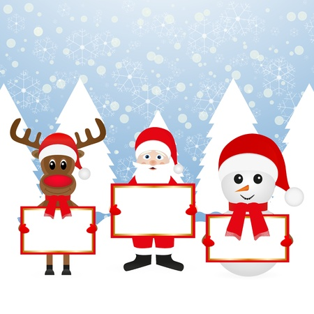 Santa Claus Christmas reindeer and snowman in forest Stock Vector - 16599718