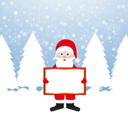Santa Claus with a banner in his hands in a fairy forest  Stock Vector - 16599722