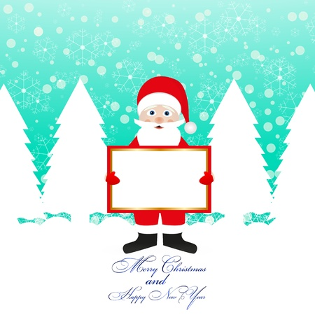 Santa Claus with a banner in his hands  Illustration