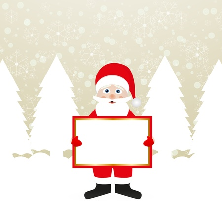 Santa Claus with a banner in the hands of a winter forest  Stock Vector - 16599720