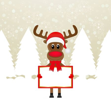 Christmas reindeer with banners in their hands  Vector