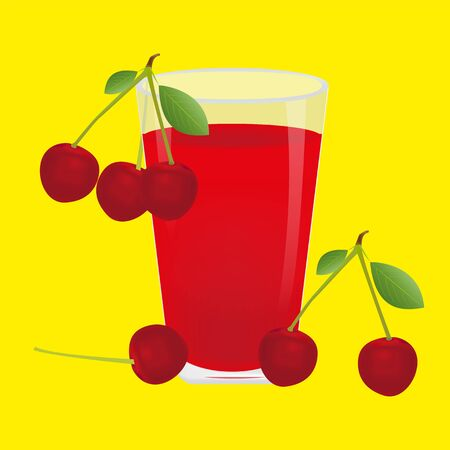 cherry juice berries and cherries on a yellow background