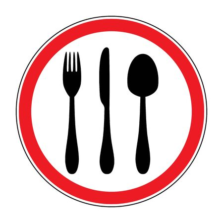 road sign with a picture of cutlery  Vector