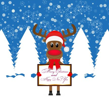Christmas reindeer with Banner in fairy forest  Stock Vector - 16623183