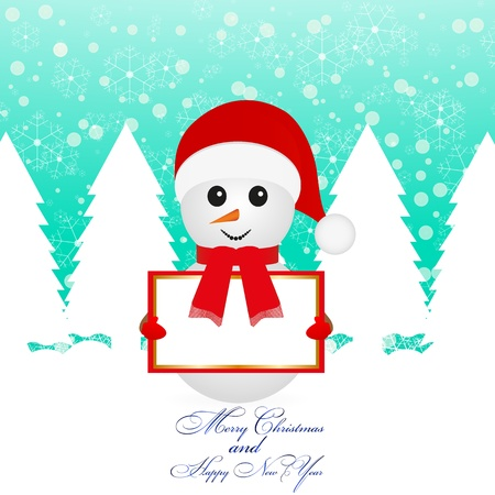 Snowman with banner in fairy forest Stock Vector - 16623185