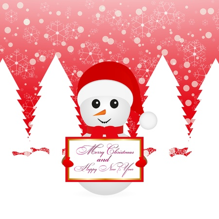 Snowman with a poster in a fairy forest Stock Vector - 16623186