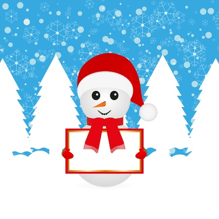 Snowman with blank banners in forest Stock Vector - 16623180