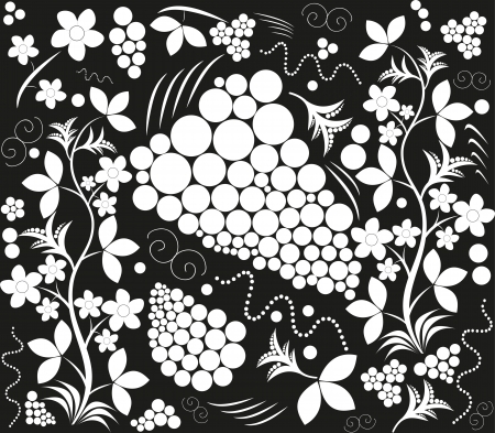 Black white figure  hohloma  Vector