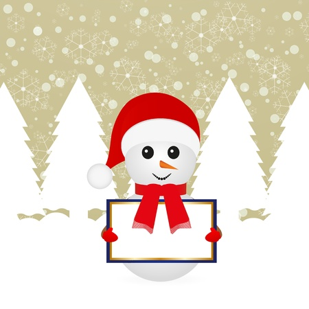 Snowman with blank banners in fairy forest  Vector