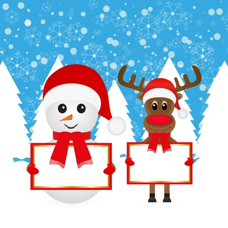 Snowman and Christmas reindeer with banners in the forest  Stock Vector - 16623182
