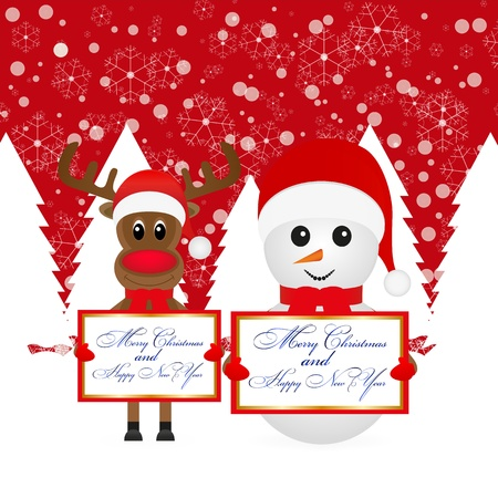 Snowman and Christmas reindeer with banners in a snowy forest  Vector