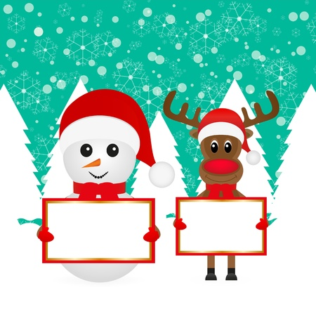 Christmas reindeer and snowman standing in the woods with banners
