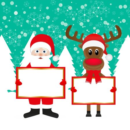 Santa and Christmas reindeer with signs in the forest Vector