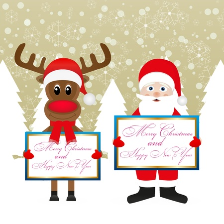 Santa Claus and Christmas reindeer with congratulatory banners Stock Vector - 16623206