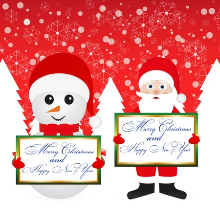 Santa Claus and snowman in the woods with a banner on the background of the red sky Vector