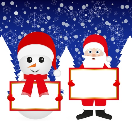 Santa Claus and snowman in the woods with banners Stock Vector - 16623200