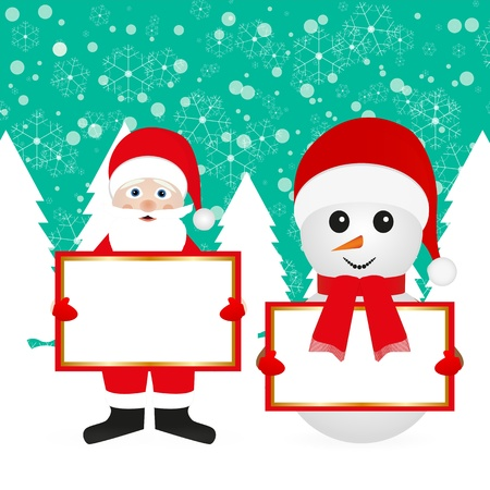 Santa Claus and snowman in the woods with empty banner Stock Vector - 16623198