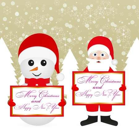 Santa Claus and snowman in a fairy forest with banners Stock Vector - 16623201