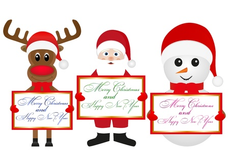 Christmas reindeer snowman and Santa Claus are holding banners Stock Vector - 16740181