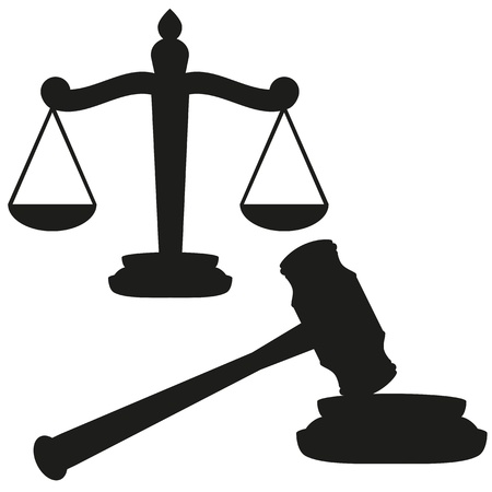 justice hammer: Scales of justice and gavel  Illustration