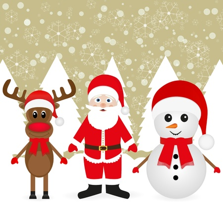 Snowman, Santa Claus and Christmas reindeer in the forest Stock Vector - 16740182